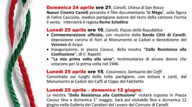 71° anniversario della Liberazione: il programma delle celebrazioni a Canelli