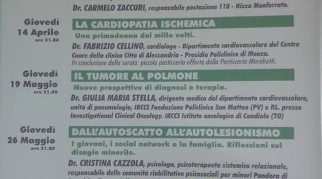 """Giovedì al Foro Boario appuntamento con la Croce Verde di Nizza Monferrato e le """"Serate con i medici"""""""