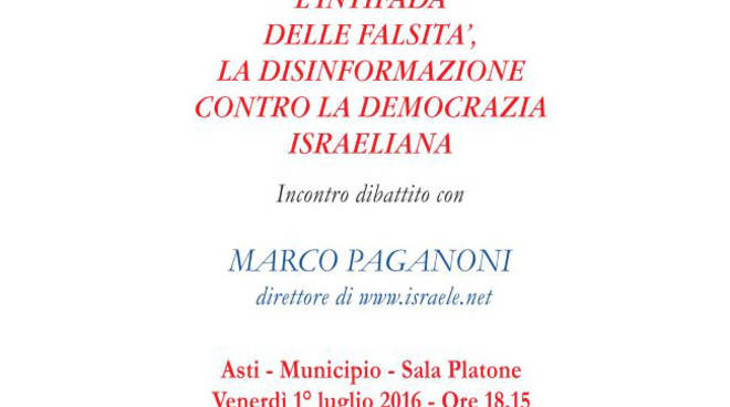 Riflessioni sulla democrazia israeliana con l'Associazione Italia Israele Asti e Marco Paganoni