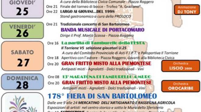 Portacomaro, al via la festa patronale di San Bartolomeo