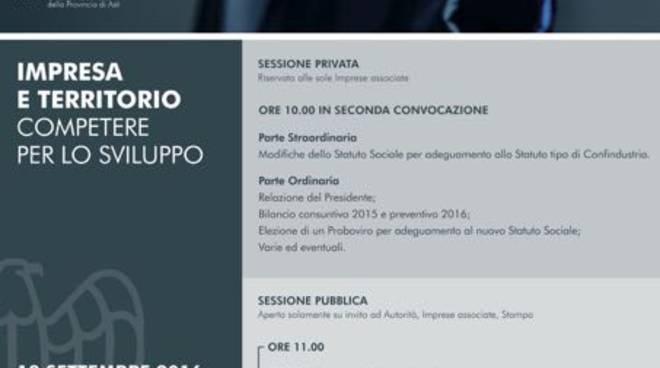 Asti, martedì 13 l'Assemblea Generale dell'Unione Industriale