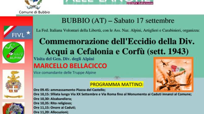 Bubbio: sabato la commemorazione dell'Eccidio della Divisione Acqui a Cefalonia e Corfù