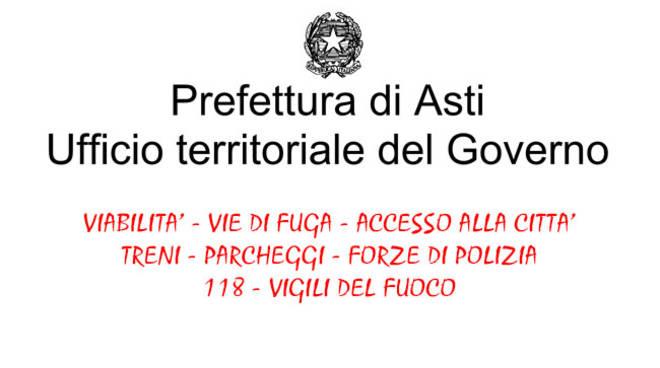 """Prefettura di Asti: le indicazioni sui servizi e per la sicurezza alla cittadinanza per il """"Settembre Astigiano"""""""