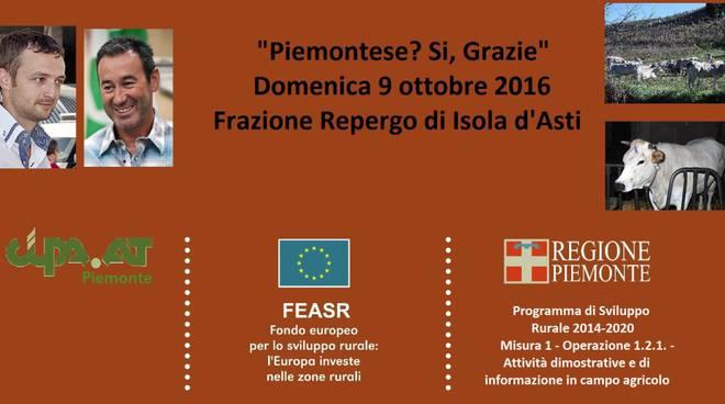"""Domenica 9 Ottobre all'Isola della Carne di Repergo l'ottava edizione di """"Piemontese? Si, grazie"""""""