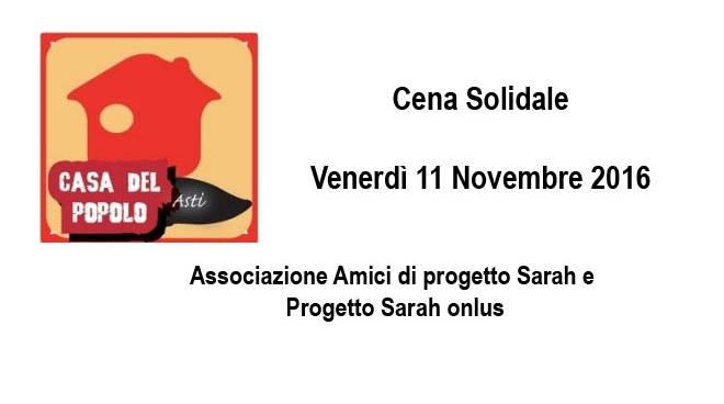 Asti, venerdì 11 cena solidale alla Casa del Popolo