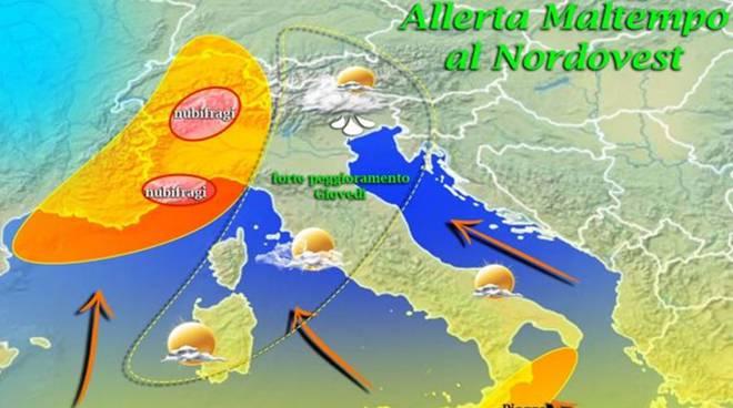 Piemonte: forti piogge in arrivo per tutta la settimana, massima allerta per fiumi e torrenti
