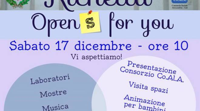 "Villanova d'Asti, sabato Palazzo Richetta è ""Open for you"""