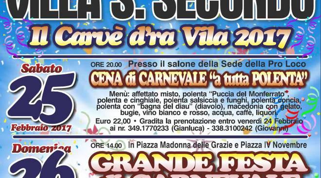 """A Villa San Secondo sabato e domenica si festeggia """"Il Carvè d'ra Vila"""""""