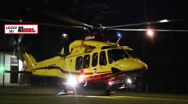 Asti, è attivo l'elisoccorso notturno: nuova pista di atterraggio in via Gerbi