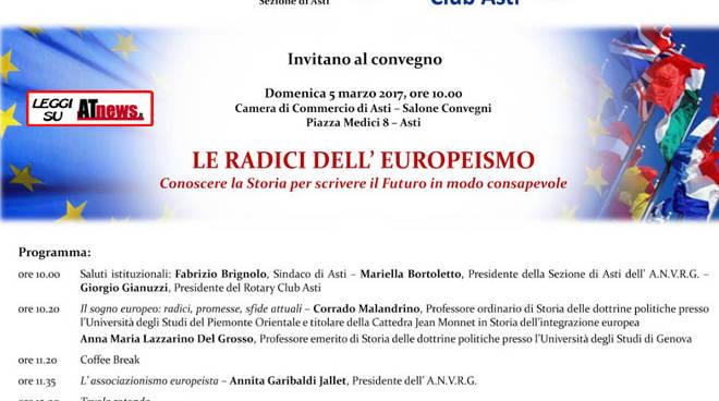 Camera di Commercio di Asti, convegno sulle radici dell'Europeismo organizzato dall'A.N.V.R.G. e dal Rotary