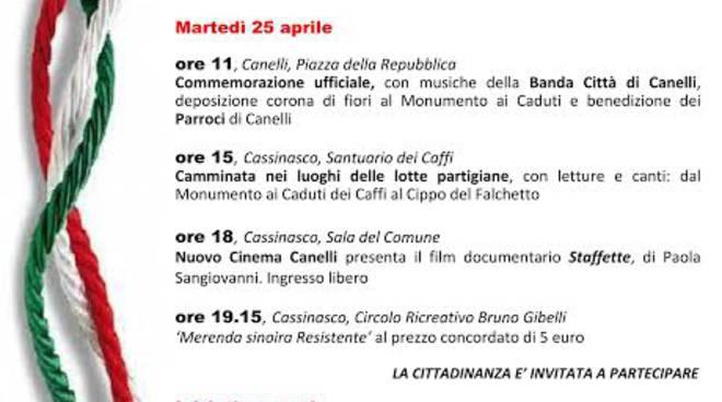 25 aprile: il programma delle celebrazioni a Canelli