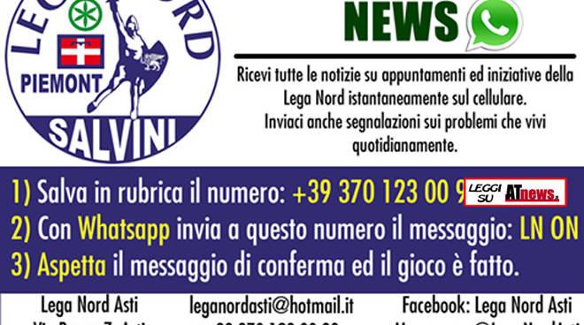 """La Lega Nord di Asti sbarca su Whatsapp con il servizio """"Lega Nord Asti News"""