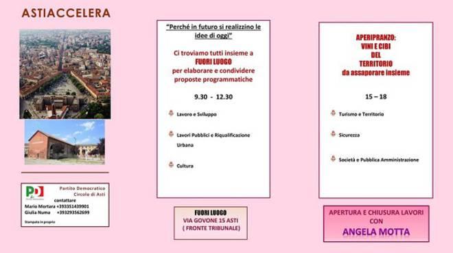 Sabato a Fuoriluogo l'iniziativa del circolo PD #AstiAccelera