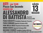 Alessandro Di Battista oggi ad Asti in piazza San Secondo