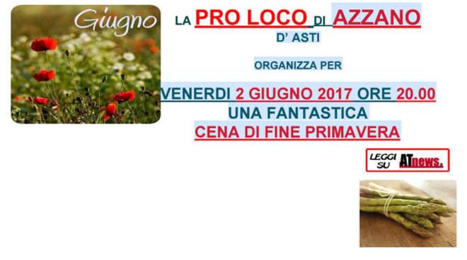 Pro Loco Azzano: venerdì 2 giugno cena di fine primavera