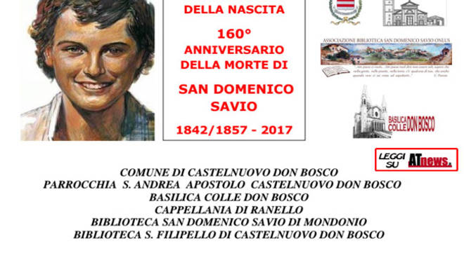 """Castelnuovo Don Bosco, il 18 giugno convegno su """"Il tempo dei Savio - Storia di una famiglia nel Piemonte dell'Ottocento"""""""