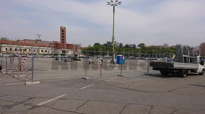 piazza campo del palio preparazione fiera 2019