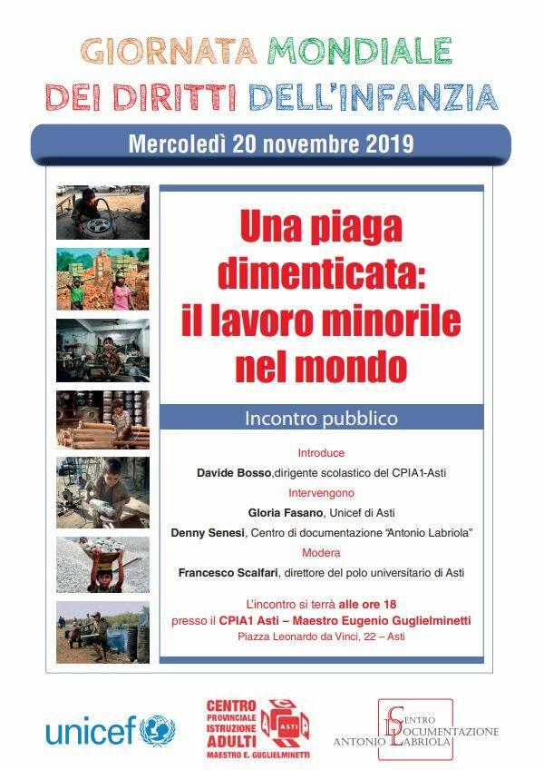 L'unicef di Asti celebra il trentennale della costituzione sui diritti dei bambini