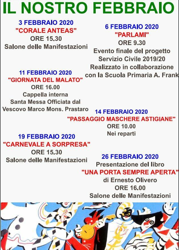 Febbraio ricco di eventi alla casa di riposo Città di Asti
