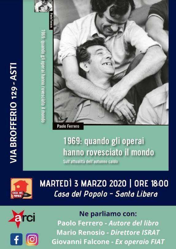 Asti, Casa del Popolo: presentazione del libro di Paolo Ferrero sul '69 operaio