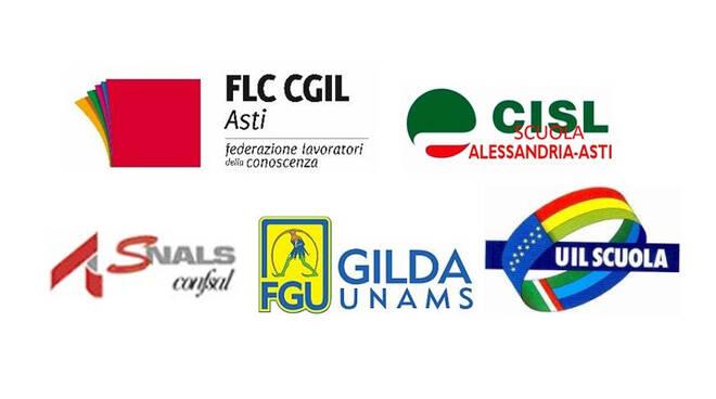 FLC CGIL Asti, UIL Scuola RUA, SNALS confsal Asti, GILDA Unams Asti, sindacati scuola