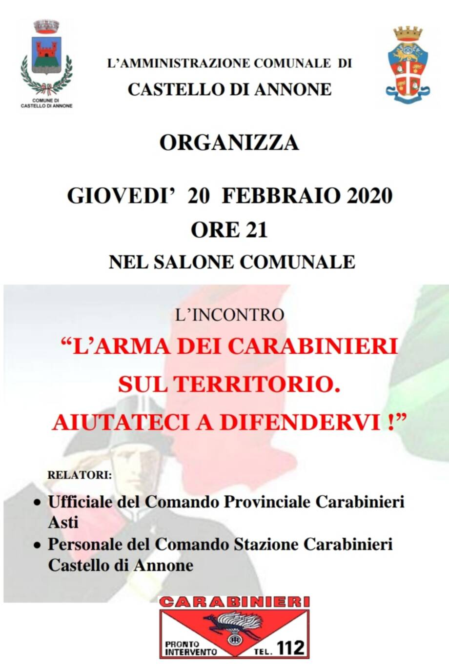 incontro carabinieri castello d'annone