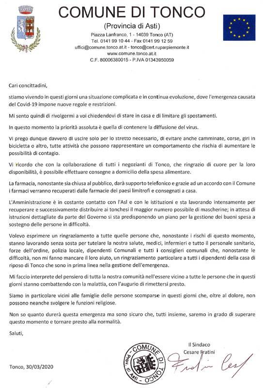 lettera sindaco tonco