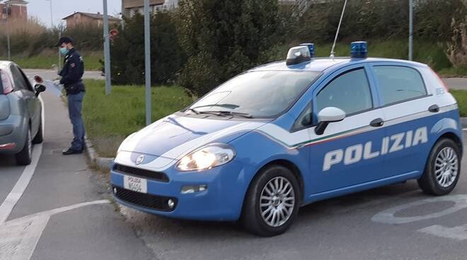polizia posto controllo mascherina