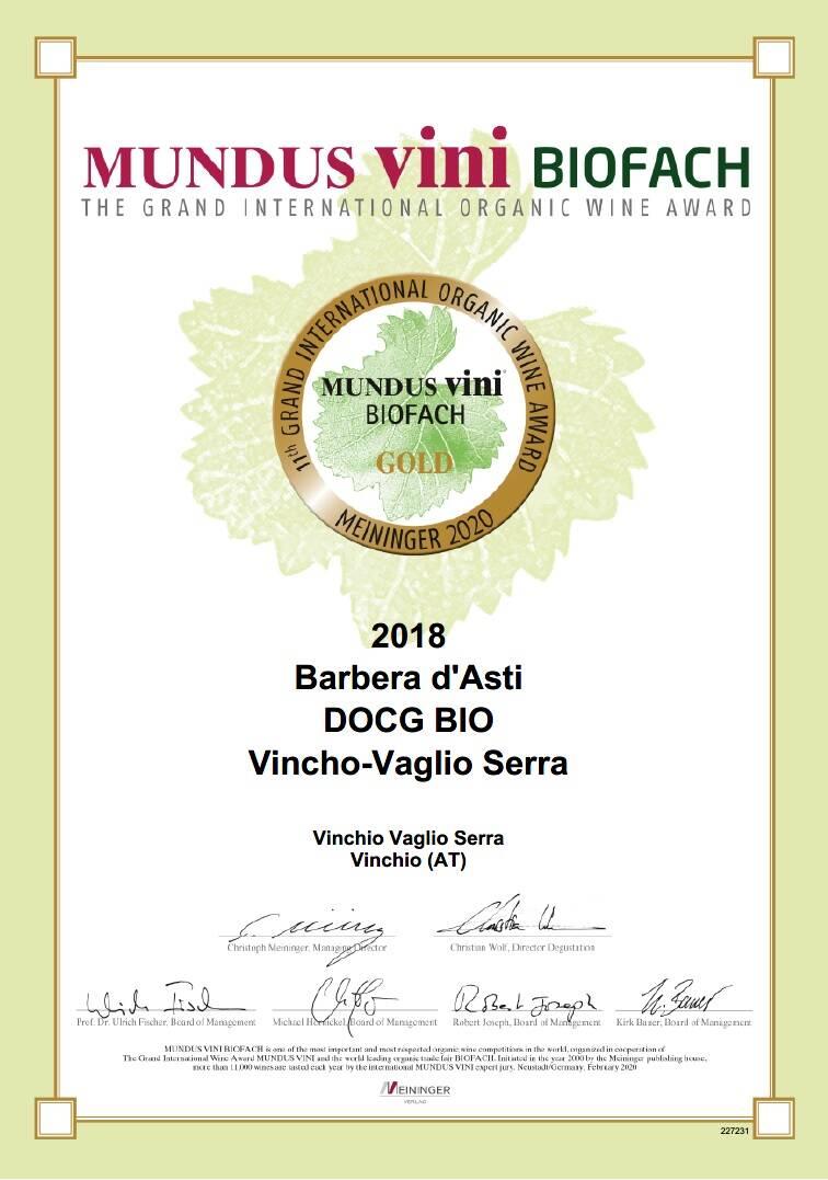 riconoscimenti febbraio 2020 cantina vinchio vaglio serra