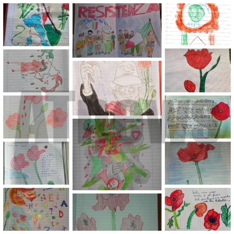 25 aprile disegni classi V a b Anna Frank