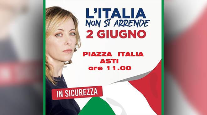 Fratelli d'Italia Asti, manifesteranno domani in Piazza Italia