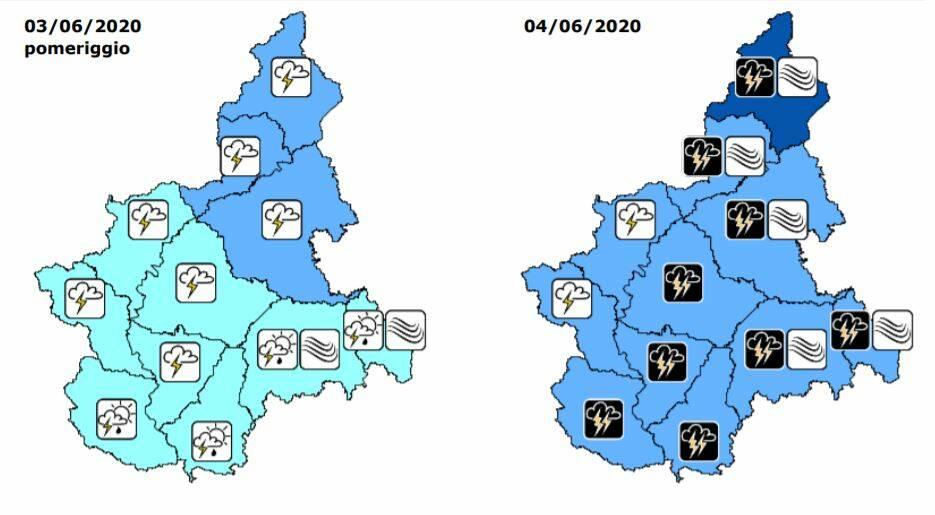 previsioni precipitazioni 03/4 giugno 2020