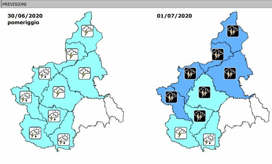 previsioni precipitazioni 30/6 1-2/7/2020