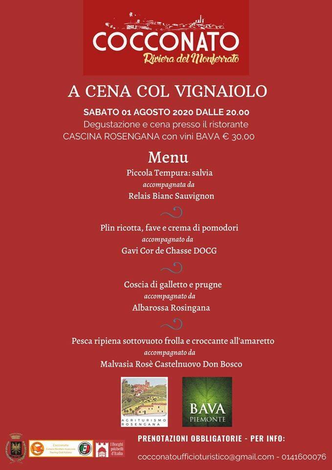 a cena col vignaiolo 1 agosto menù