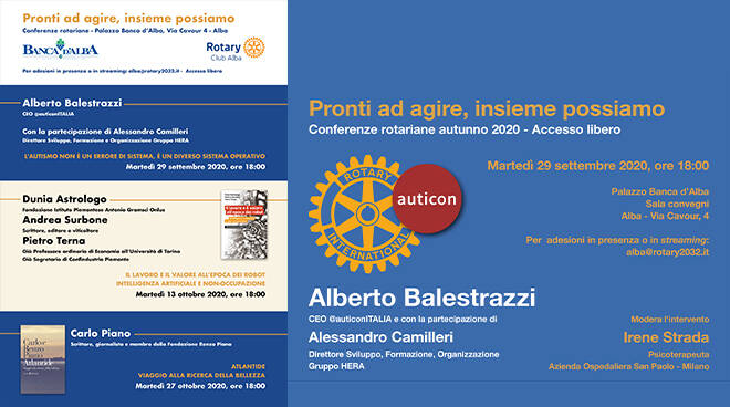 Rotary Club Alba, al via le conferenze autunnali in presenza e in streaming
