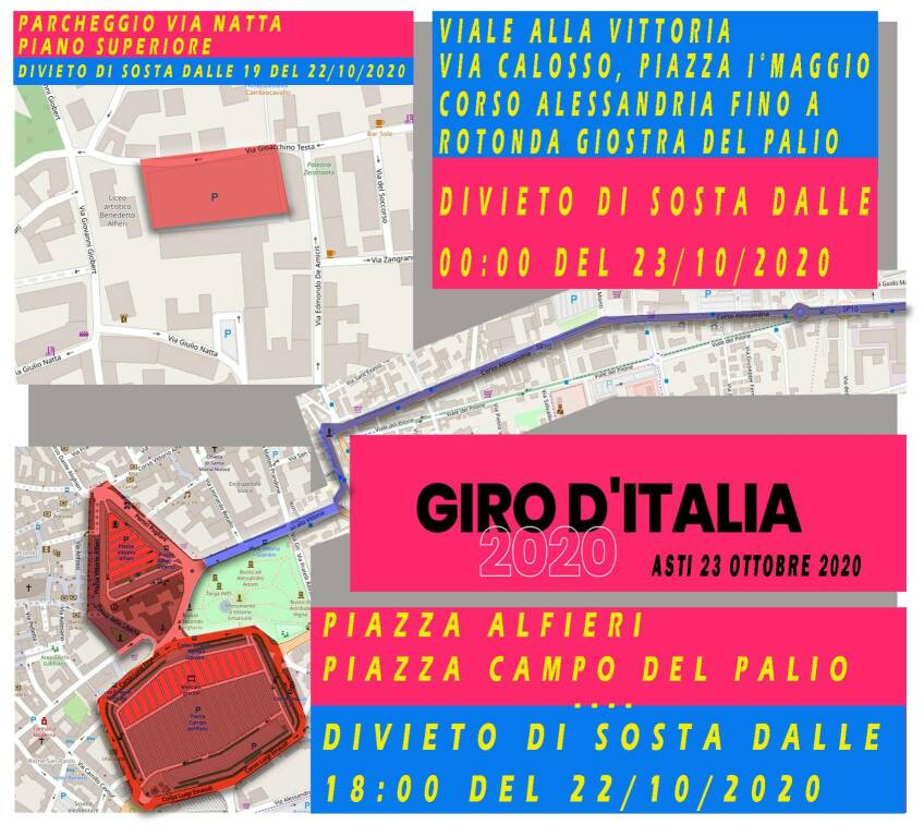 chiusura strade asti giro d'italia 2020