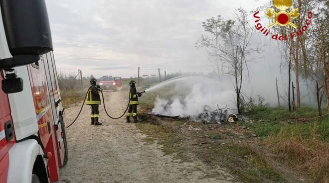 Incendio rifiuti tangenziale Asti