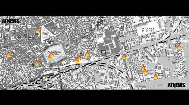 Mappa auto bruciate asti