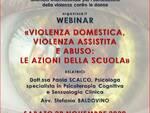 """locandina webinar dal titolo """"Violenza domestica, violenza assistita e abuso: le azioni della scuola""""."""