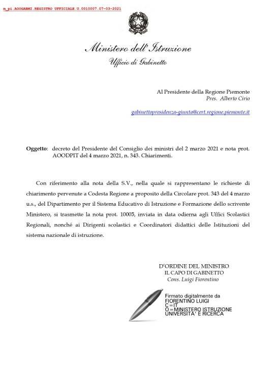 lettere regione ministero scuola