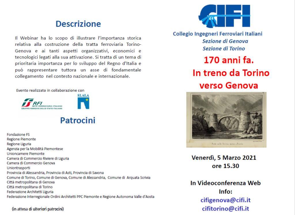 Torino-Genova: webinar sui 170 anni della linea che guarda al futuro