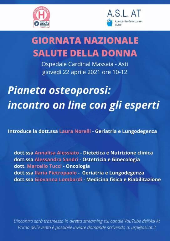 Giornata Nazionale della Salute della Donna, giovedì evento online sul canale youtube dell'Asl di Asti