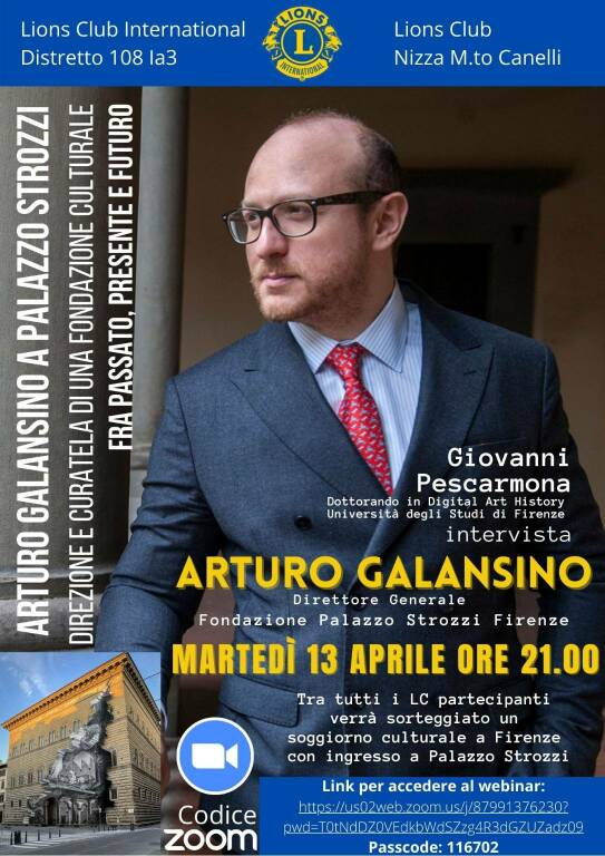 incontro online con Arturo Galansino lions nizza canelli