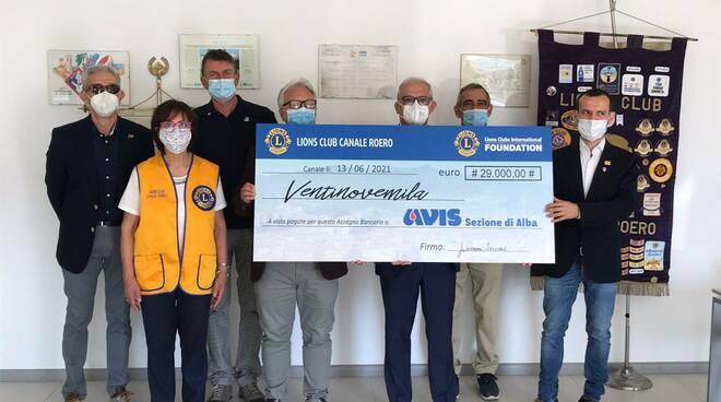avis alba donazione lions club canale roero