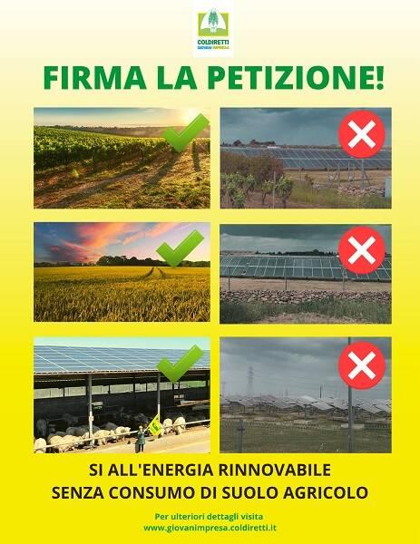 petizione coldiretti pannelli fotovoltaici